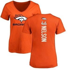 Dontrell Nelson Denver Broncos Women's Orange Pro Line Backer Slim Fit T-Shirt -