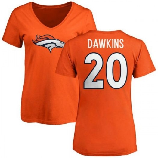 Brian Dawkins Denver Broncos Women's Orange Pro Line Any Name & Number Logo Slim Fit T-Shirt -